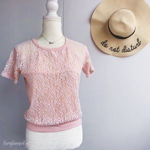 Forever 21 Pink Lace Blouse Small